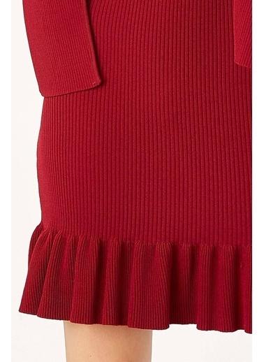 Peraluna Peraluna Bordo Renk Ribanalı Fırfırlı Kadın Abiye Triko Elbise Bordo